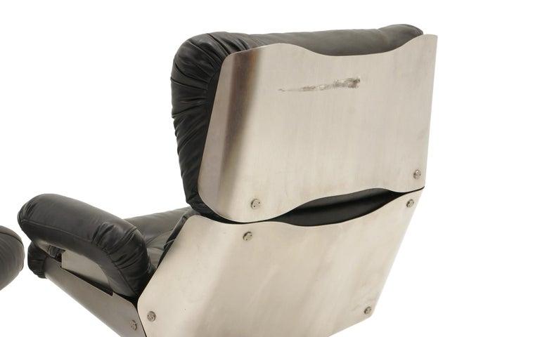 French Lounge Swivel Chair & Ottoman, Matte Chrome, Cast Aluminum, Black Vinyl 8