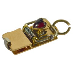 French Love Trap Gold Garnet Charm Pendant