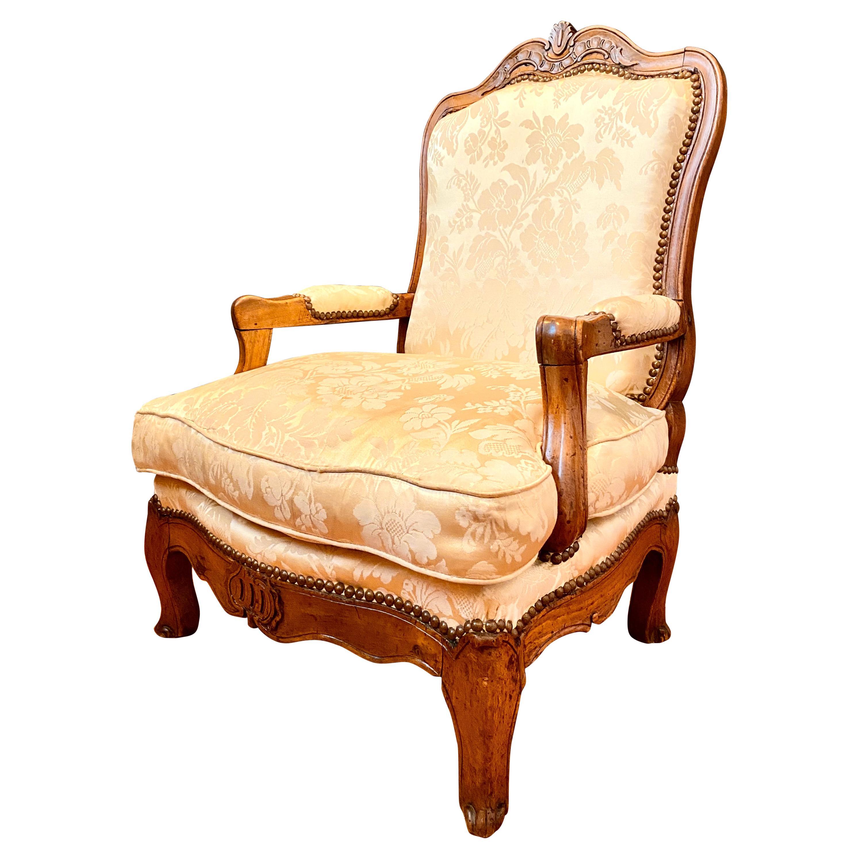 French Low Armchair, Louis XV Provençal, Fireside Armchair