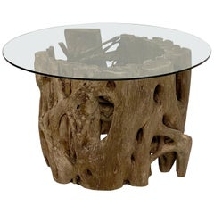 French Low Coffee Table on Rustic Mangrove or Driftwood Base