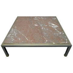 French Low Marble-Top Coffee Table