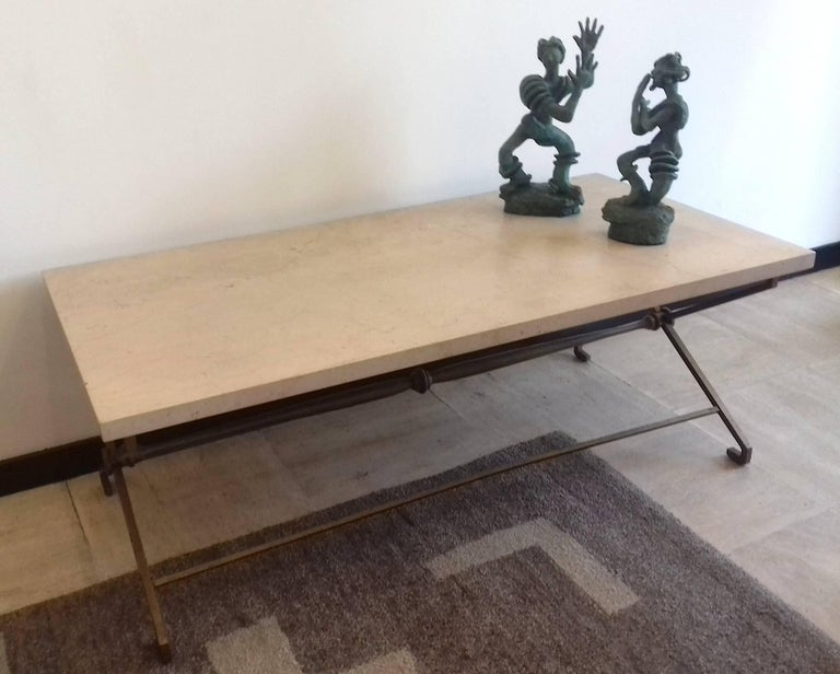 Mid-Century Modern French Low Table, circa 1940, Golden Iron and Travertine For Sale