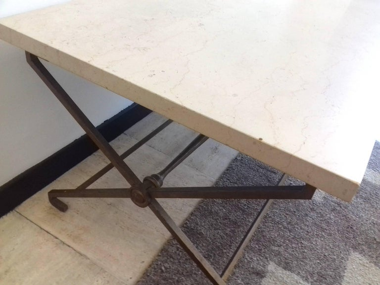 French Low Table, circa 1940, Golden Iron and Travertine In Excellent Condition For Sale In Saint-Ouen, FR
