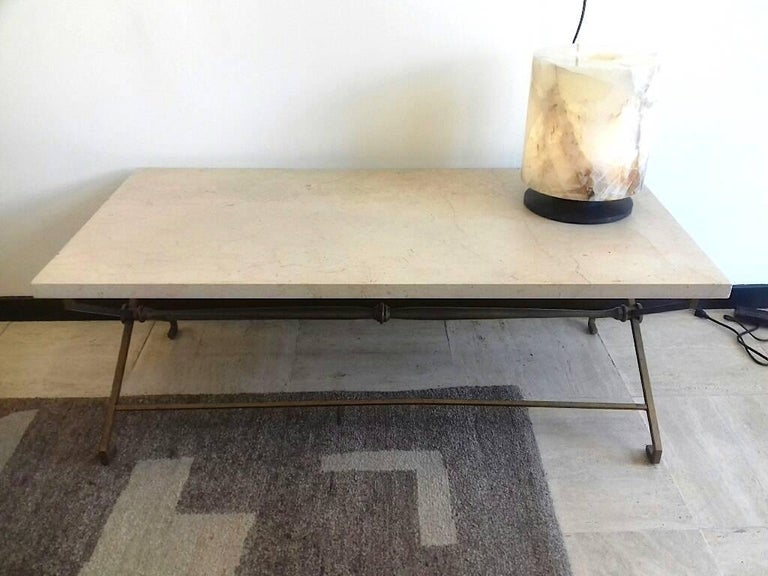 Metal French Low Table, circa 1940, Golden Iron and Travertine For Sale
