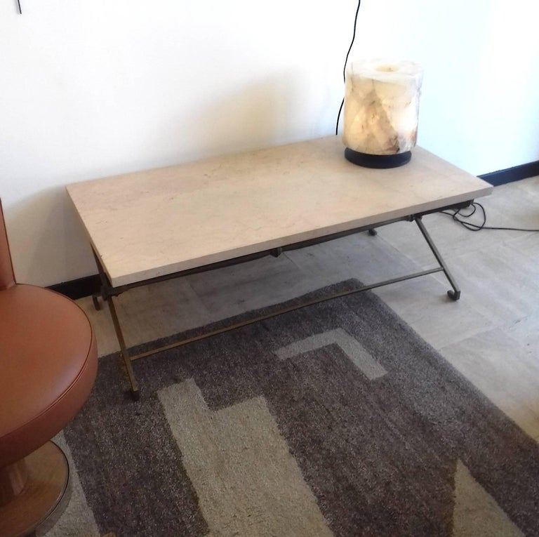 French Low Table, circa 1940, Golden Iron and Travertine For Sale 3