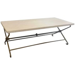 French Low Table, circa 1940, Golden Iron and Travertine