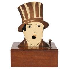 French LR Art Deco Novelty Wooden Musical Cigarette Dispenser