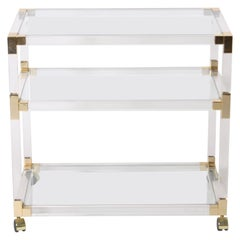 French Lucite, Glass and Brass 3-Tier Table, circa 1970