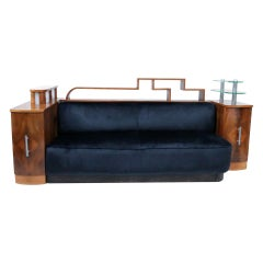 French Luxury Glamorous Art Deco Sofa Integrated Light, circa 1925