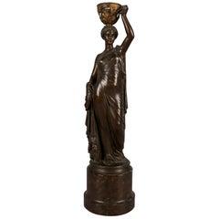 French L.v. Elias Robert Figural Bronze Portrait Sculpture of Canephore