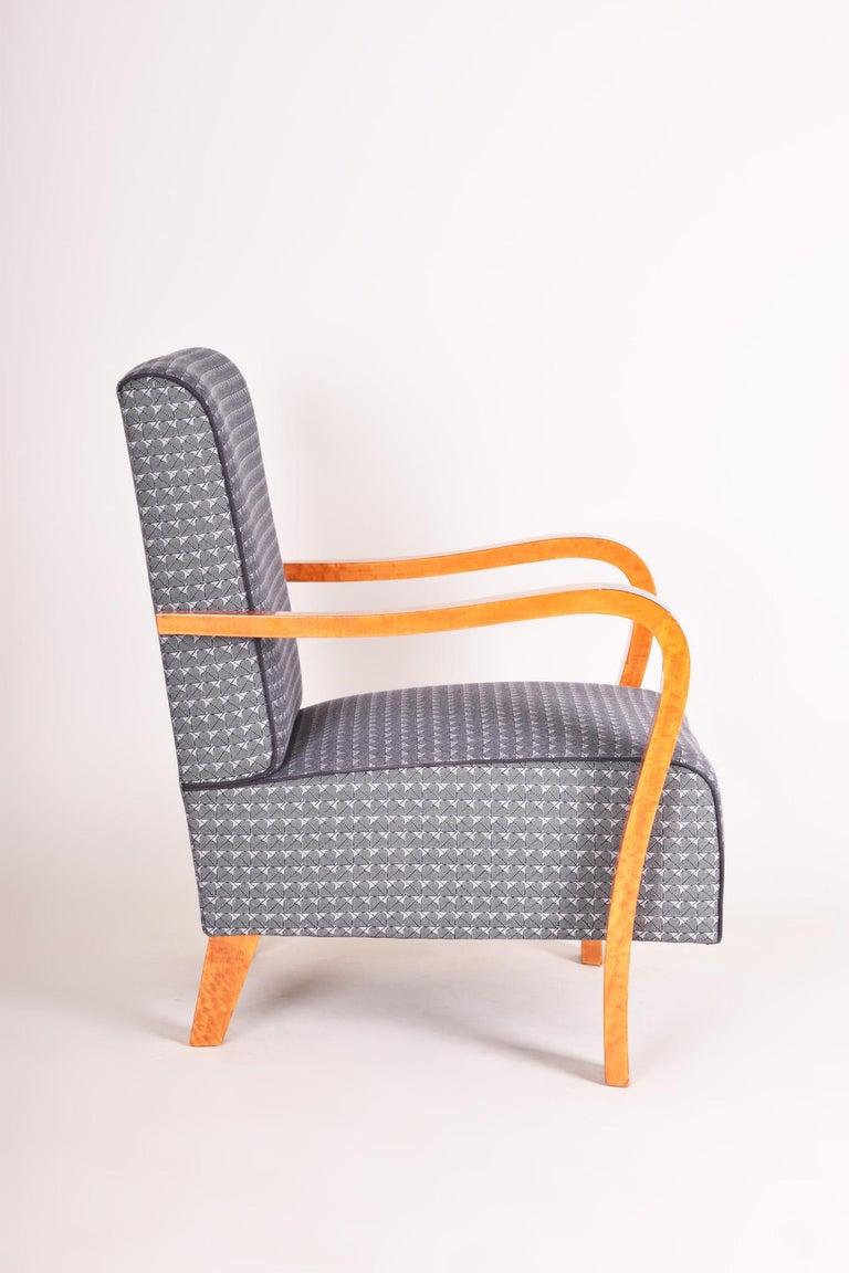 French Macassar Art Deco Armchair, Completely Restored, New Upholstery In Good Condition For Sale In Prague 1, CZ
