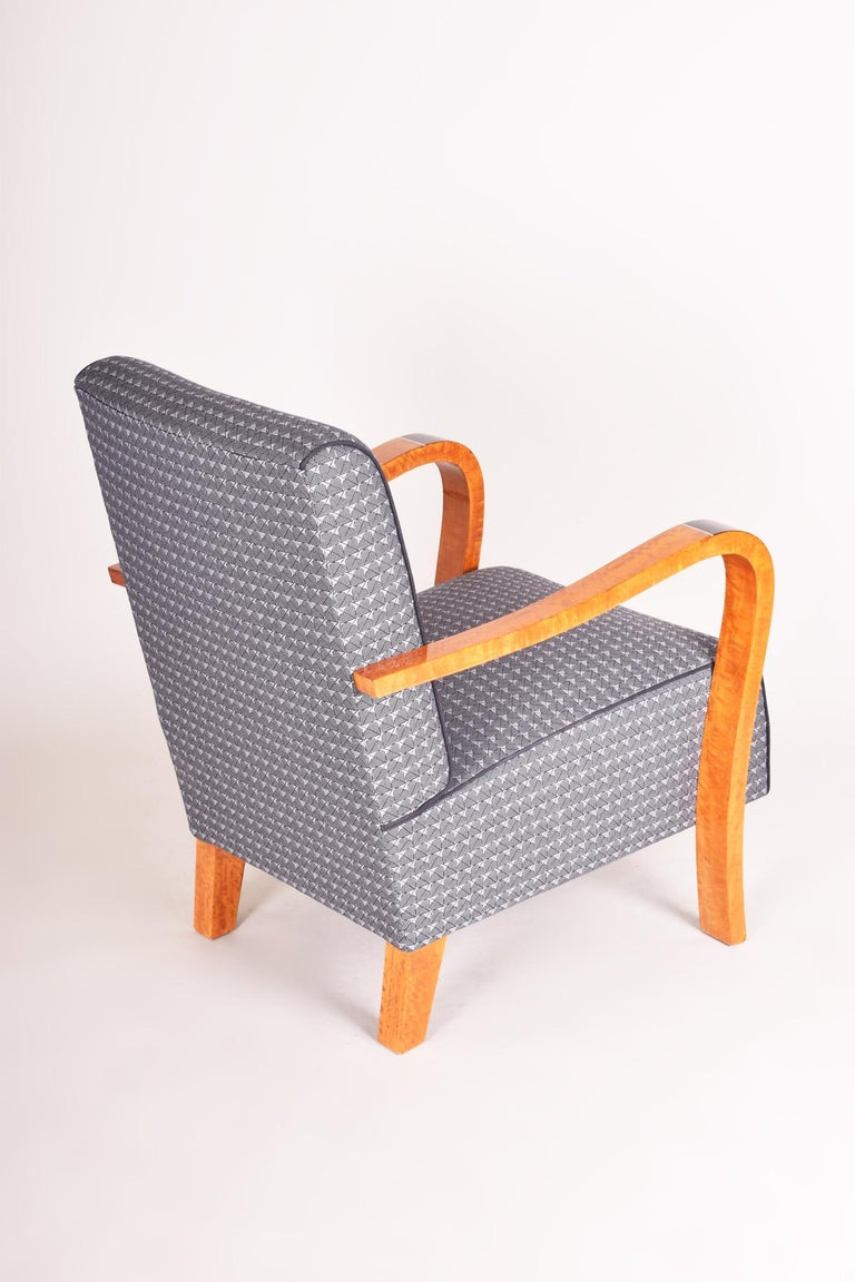 Fabric French Macassar Art Deco Armchair, Completely Restored, New Upholstery For Sale