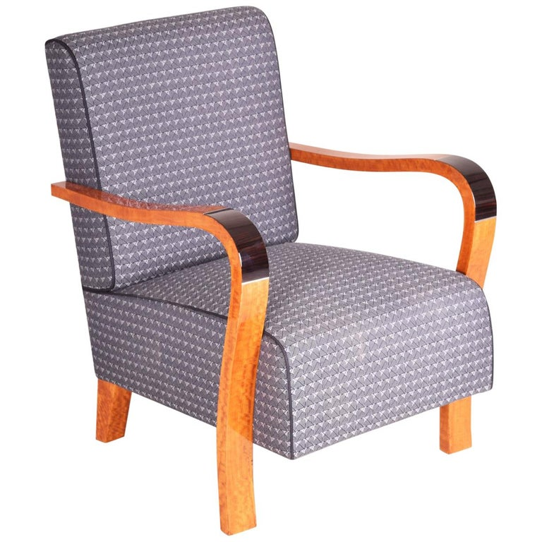 French Macassar Art Deco Armchair, Completely Restored, New Upholstery For Sale