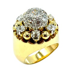 French Made 2.10 Carat Old European Cut Diamond and 18k Yellow Gold Ring