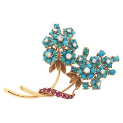 French Made Turquoise Diamond & Ruby Floral Brooch 18k