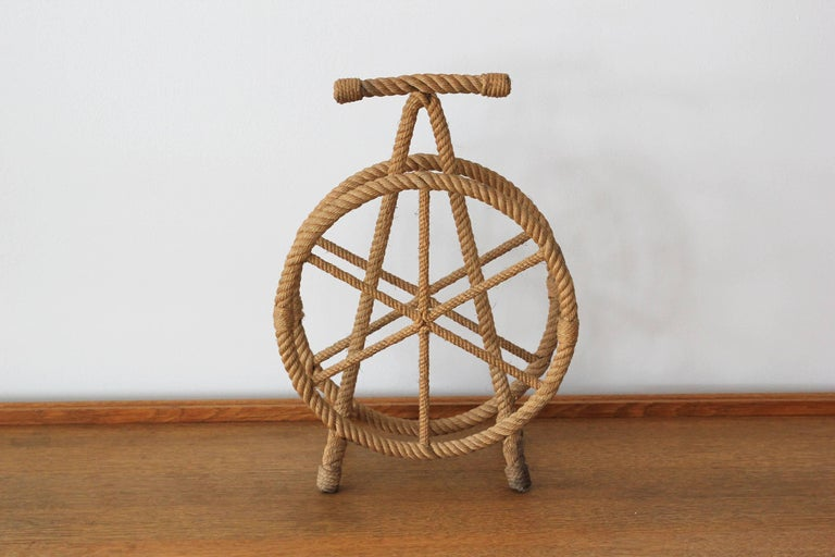 French rope magazine holder in the style of Audoux Minet.