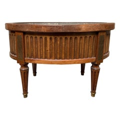 French 19th Century Mahogany and Brass Louis XVI Style Oval Jardinière
