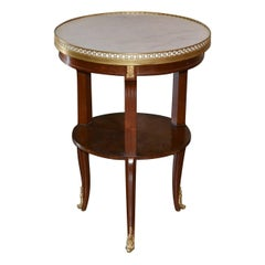 French Mahogany and Marble Salon Table