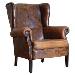 French Mahogany and Sheepskin Upholstered Wingback Chair, 20th Century