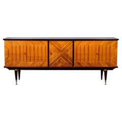 French Mahogany Art Deco Buffet or Credenza with Black Top