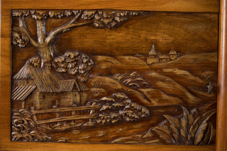 French Mahogany Art Deco Sideboard with Sculptural French Art, 1940s For Sale 6