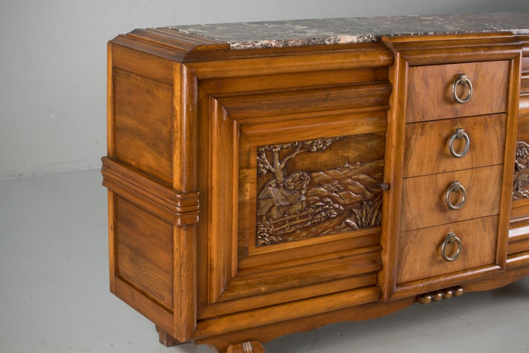 French Mahogany Art Deco Sideboard with Sculptural French Art, 1940s For Sale 9