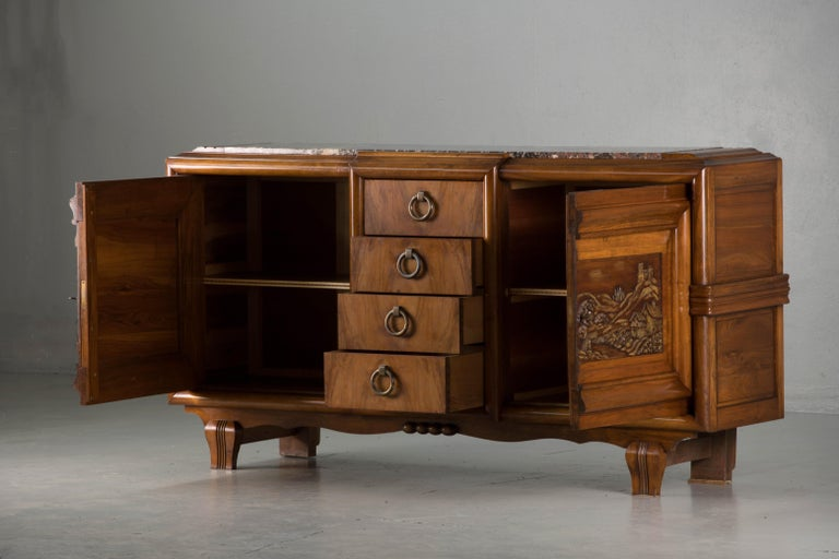 20th Century French Mahogany Art Deco Sideboard with Sculptural French Art, 1940s For Sale