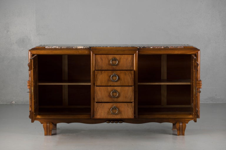 Walnut French Mahogany Art Deco Sideboard with Sculptural French Art, 1940s For Sale