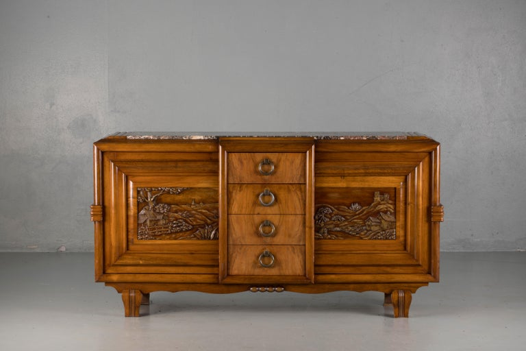 French Mahogany Art Deco Sideboard with Sculptural French Art, 1940s For Sale 1