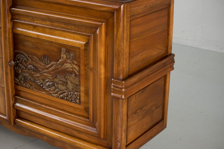 French Mahogany Art Deco Sideboard with Sculptural French Art, 1940s For Sale 2