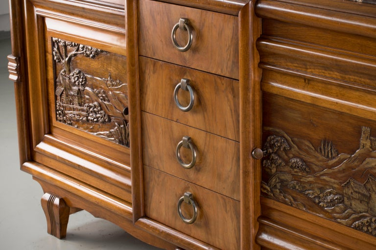 French Mahogany Art Deco Sideboard with Sculptural French Art, 1940s For Sale 3