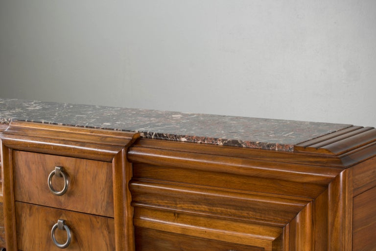 French Mahogany Art Deco Sideboard with Sculptural French Art, 1940s For Sale 4