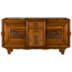 French Mahogany Art Deco Sideboard with Sculptural French Art, 1940s