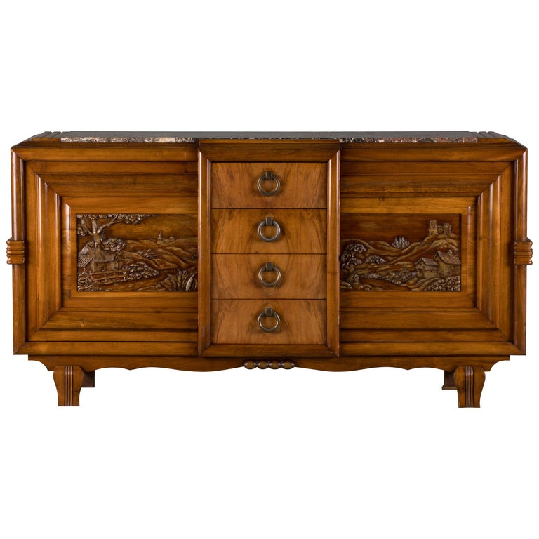 French Mahogany Art Deco Sideboard with Sculptural French Art, 1940s For Sale