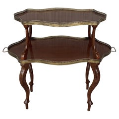 French Mahogany Brass Two-Tier Side or Coffee Table
