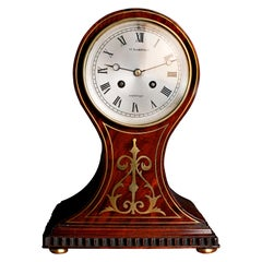French Mahogany Cased Balloon Mantel Clock by William Barfoot, London