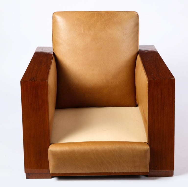 French Mahogany Club Chair with Leather Upholstery, Attributed to Dominique For Sale 10
