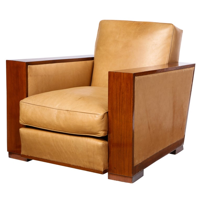French Mahogany Club Chair with Leather Upholstery, Attributed to Dominique For Sale