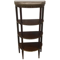French Mahogany Demilune Marble-Top Étagère