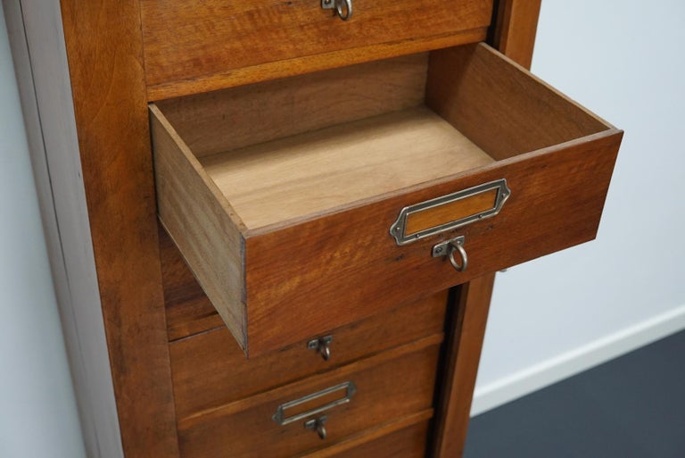 French Mahogany Filing Cabinet or Bank of Drawers, 1930s For Sale 6
