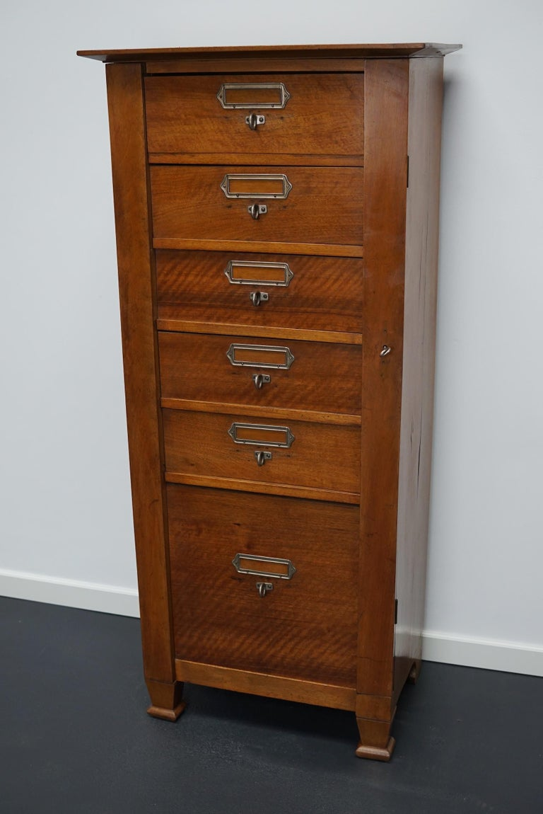 French Mahogany Filing Cabinet or Bank of Drawers, 1930s For Sale 8