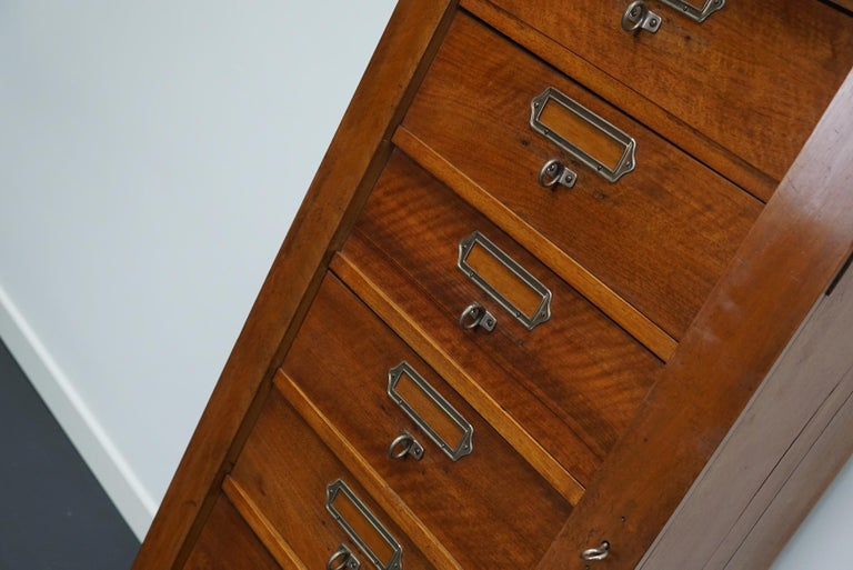 French Mahogany Filing Cabinet or Bank of Drawers, 1930s For Sale 11