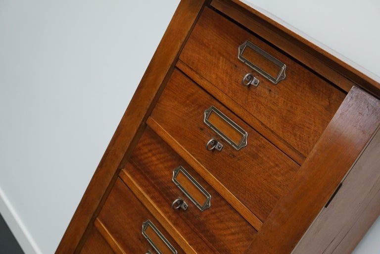 French Mahogany Filing Cabinet or Bank of Drawers, 1930s For Sale 12