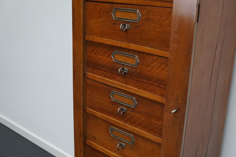 French Mahogany Filing Cabinet or Bank of Drawers, 1930s For Sale 4