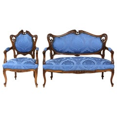 French Mahogany Framed Seating Two-Piece Set