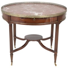 French Mahogany Bouillotte Table with Marble Top and Brass Gallery