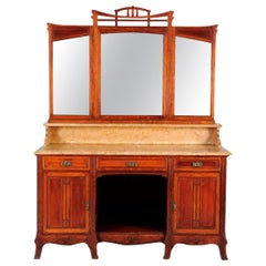 French Mahogany Marble Top Buffet with Mirror Maison Koenig, Liège, 1895