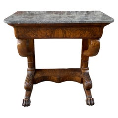 French Mahogany Marble Top Console Table with Paw Feet Mid 19th Century