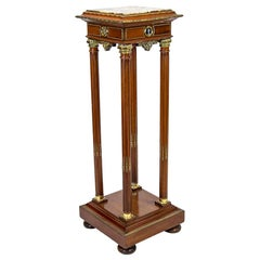 French Mahogany Marble-Top Pedestal