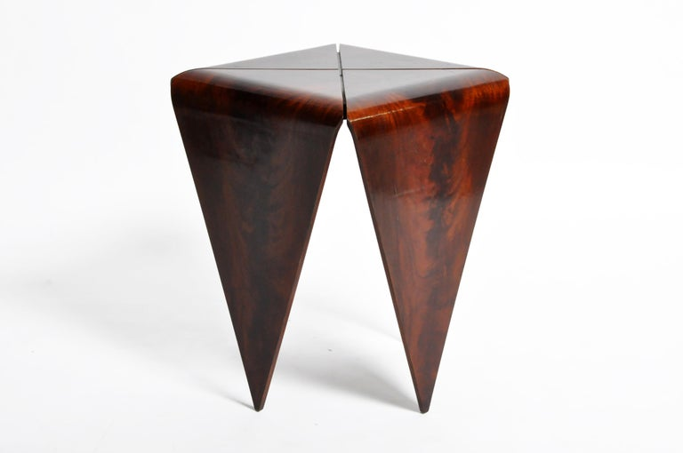 French Mahogany Veneer Side Table in the Style of Jorge Zalszupin For Sale 10